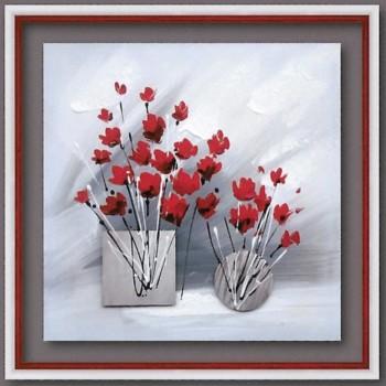 Toile fleurs rouges